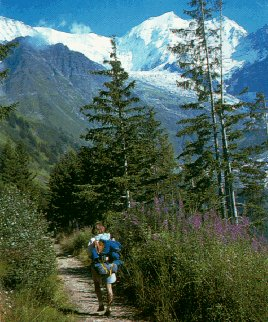 Hiking toward Mont Blanc.