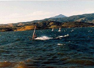 Sailing on a choppy Lake Arenal.