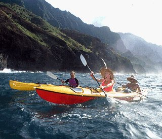 Kayaking off the Na Pali coast.