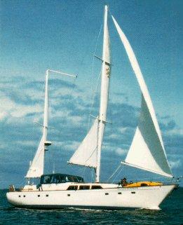 Island Roamer under sail.