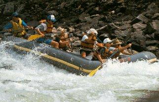 Rafting down the wild Main Salmon River.