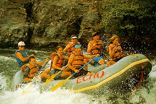 Children enjoy rafting on the Rogue River.