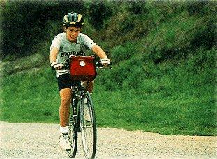A child enjoys a ride through France.