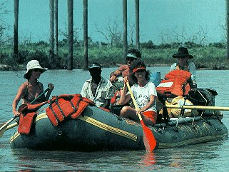Floating on the Rufiji River.