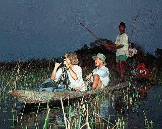 Exploring the Okavango Delta at night.