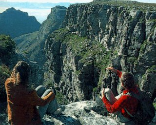 Hiking on Table Mountain in Cape Town.