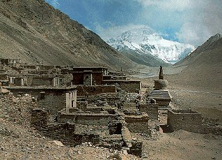 The ruins of the Rongbuk monastery.