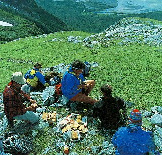 Lunching above the Alsek River.