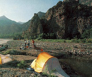 Camping beside the Coruh River, Turkey.