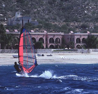 Windsurfing at the Baja Surf Club.