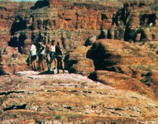 Stone escarpments in central Australia.