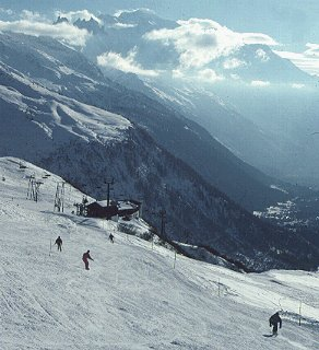 Skiers on the Alpine slopes.