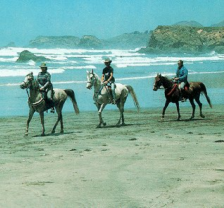 Riding on California's beautiful beaches.