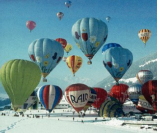 Balloons aloft in Switzerland.