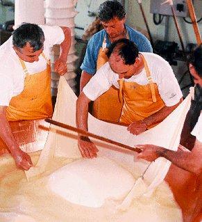 Chefs prepare cheese in Bologna.