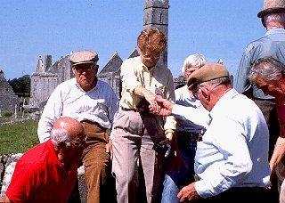 Elderhostelers explore castle ruins in Ireland.
