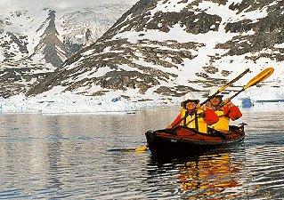 Sunny Arctic kayaking.