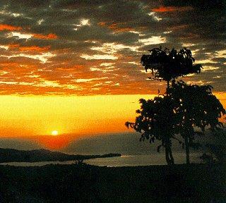 Madagascar's beautiful coastline at sunset.