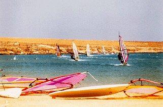Windsurfers at Golden Beach.