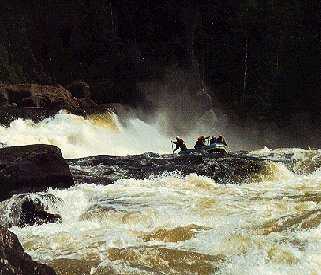 Riding the rapids of the Magpie River in Quebec.