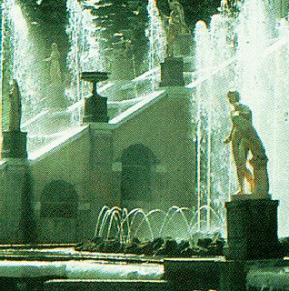 The golden fountains of St. Petersburg.