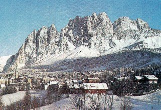 The snows and peaks of Cortina, Italy.