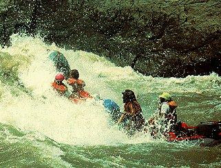Crashing through rapids.