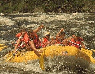 Crashing through the rapids.