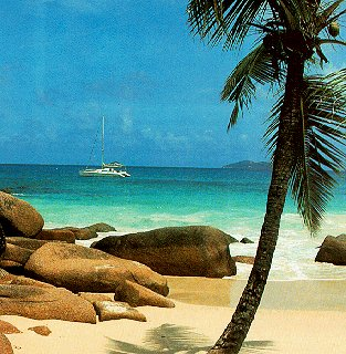 Anchored off the Seychelles.