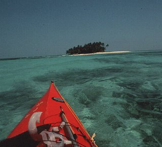Kayaking off an island in Belize.