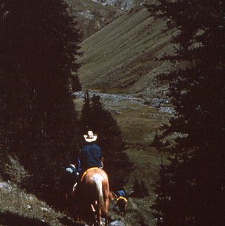 Riding through Wyoming's rugged highlands.