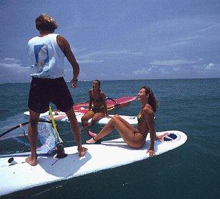Learning the windsurfing basics.