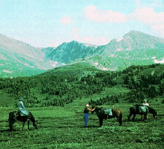 Riding in the Altai mountains.