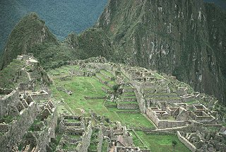 A view of Machu Picchu from the watchtower.