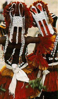 Dogon masked dancers in southern Mali.